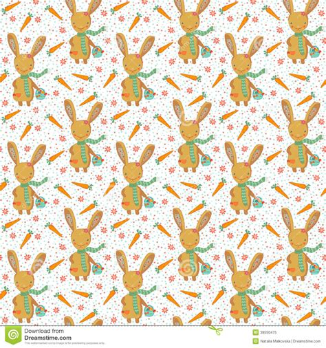 free eastern pattern background cute easter bunny with carrots seamless pattern stock