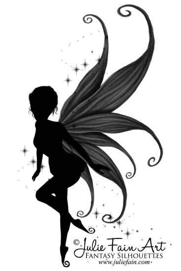 cool silhouette fairy with butterfly tattoo design by