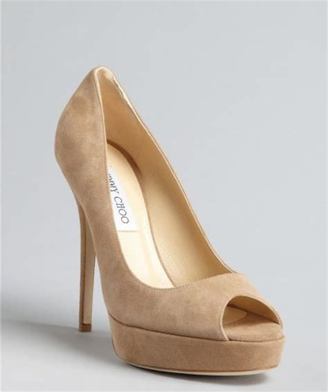 jimmy choo tan suede meringue platform peep toe pumps in jimmy choo nude suede sue platform peep toe pumps in beige