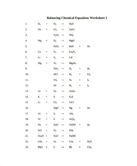 balancing equations worksheet templates sample templates