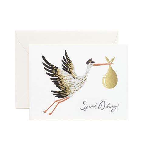 Baby Stork Greeting Card by RIFLE PAPER Co.   Made in USA