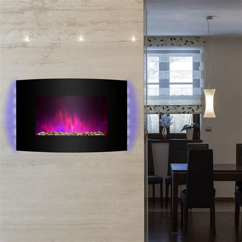 electric wall fireplaces heater wall mount akdy 36 in wall mount electric fireplace heater in black with curved tempered glass pebbles