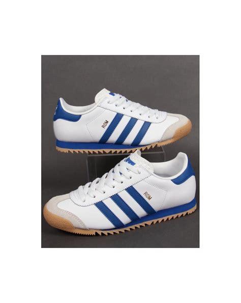Adidas White Blue adidas rom trainers white blue originals