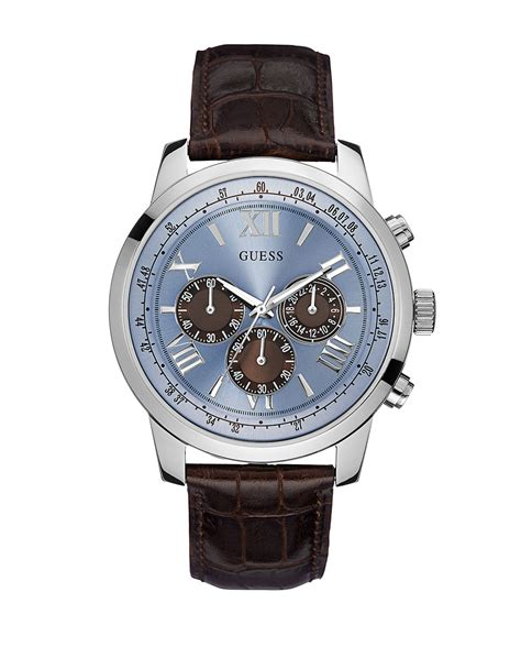 guess mens classic sport steel chronograph and leather