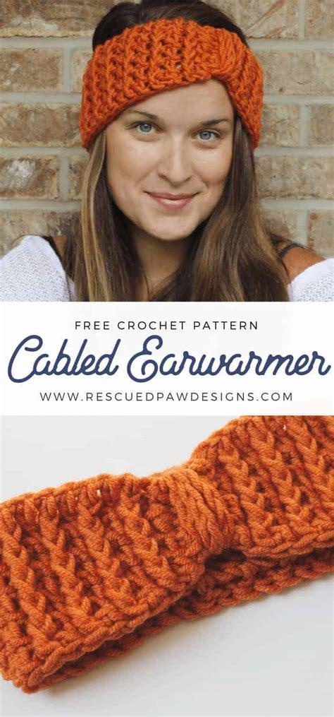 Ear Warmer cabled ear warmer crochet pattern rescued paw designs