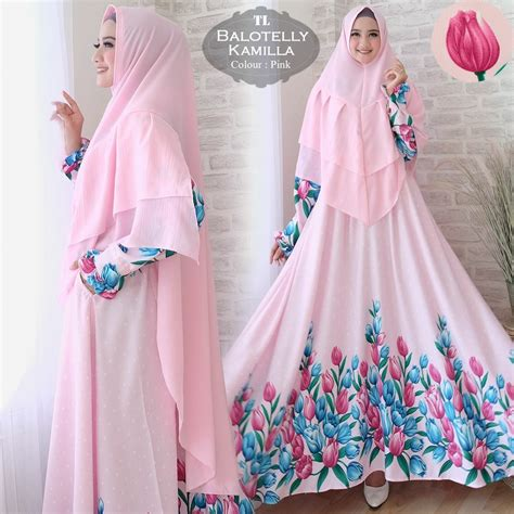 118595 Syari Pesta Calesta Pink Limited gamis syari baloteli kamilla baju muslim cantik murah