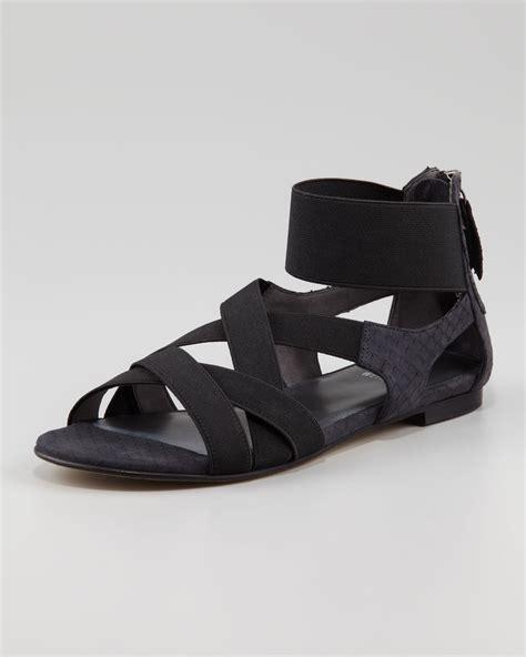 Sandal Elastis Black stuart weitzman lasting elastic snake embossed flat sandal black in black lyst