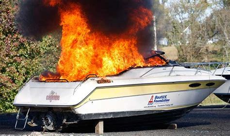 boat engine compartment fire extinguisher boat burn tests boatus magazine