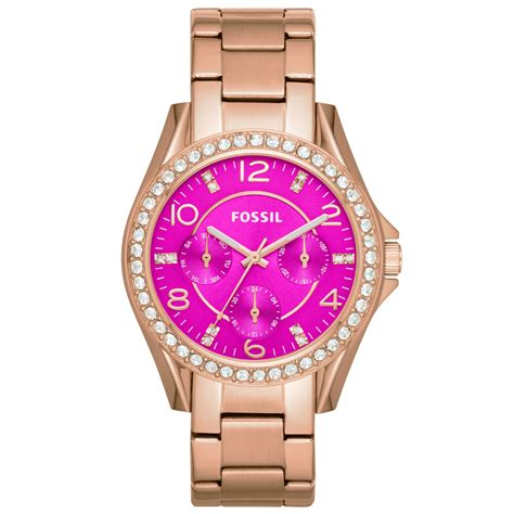 Fossil Pink fossil s gold tone stainless steel bracelet 38mm es3531 in pink lyst