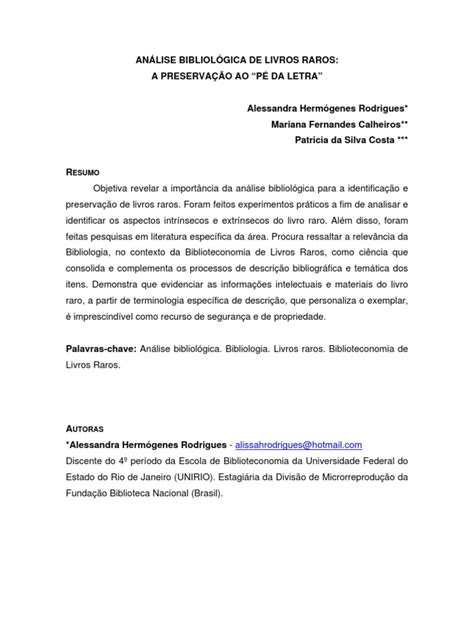 Analise Bibliologica de Livros Raros.pdf | Livros