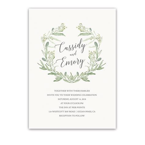 Wedding Invitations Greenery watercolor wreath greenery wedding invitations laurel greens