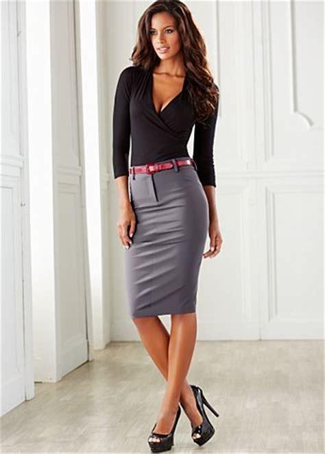 skirt and high heels gray pencil skirt black blouse and black high heels