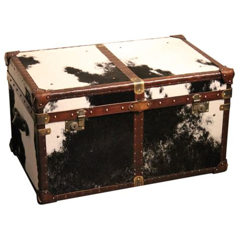 Cowhide Coffee Table bespoke cowhide trunk coffee table at 1stdibs