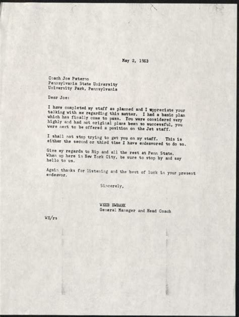 Rejection Letter Oxford From The Stacks Weeb Ewbank And The Cradle Of Coaches Miami Libraries Steward