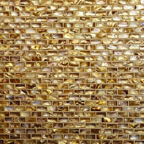 Stone Backsplash Kitchen Shell Mosaic Antique Gold Brick Patern