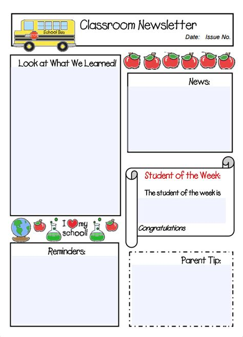 classroom newsletter template 7 free for pdf word