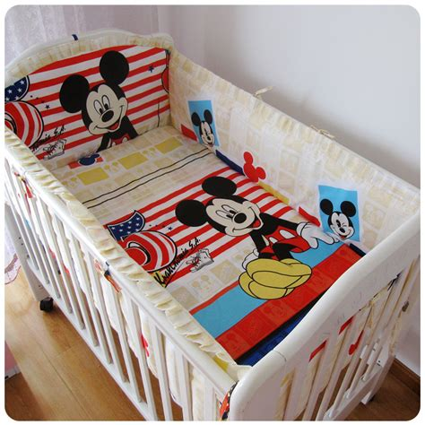 how to wash bed sheets promotion 6pcs mickey mouse 100 cotton baby bedding set