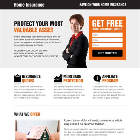 home insurance responsive landing page designs for your