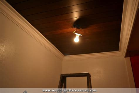 bathroom wood ceiling ideas my almost finished stained wood slat bathroom ceiling and