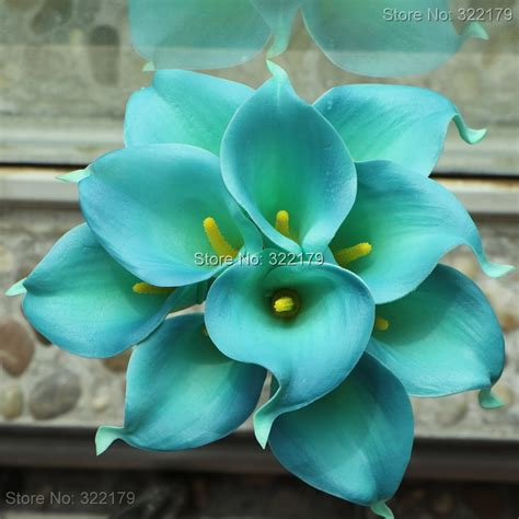 fiore con s aliexpress buy 10pcs teal calla lilies wedding
