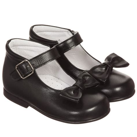 children s classics black leather shoes with bows