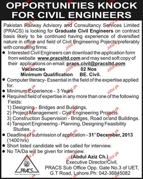 Online Civil Engineering Jobs Work From Home - graduate civil engineers job in pakistan railway 2017 2018 jobs pakistan jobz pk