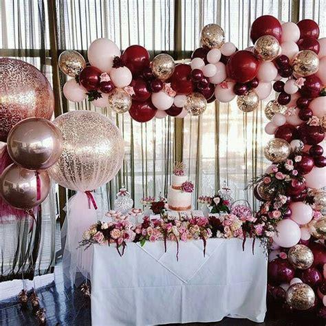 Rose gold burgundy pink balloons balloons amp more bombas y mas pinterest wedding