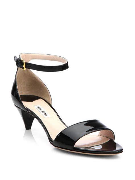 kitten heel sandals miu miu patent leather kitten heel sandals in black lyst