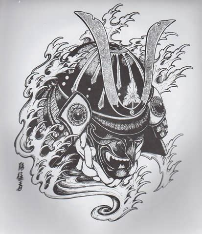 black and white chinese demon samurai in water waves