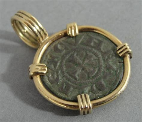 gold nonnude ancient bronze st andrew s crusader cross coin 18k gold