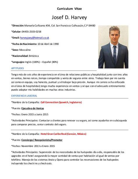 Plantilla De Curriculum Para Recepcionista Curriculum Vitae Josef Harvey Espa 241 Ol