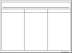 clip art 3 column organizer 1 landscape b amp w i abcteach