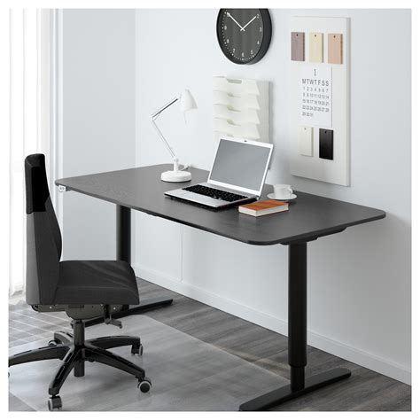 bekant desk sit stand black brown black 160x80 cm ikea