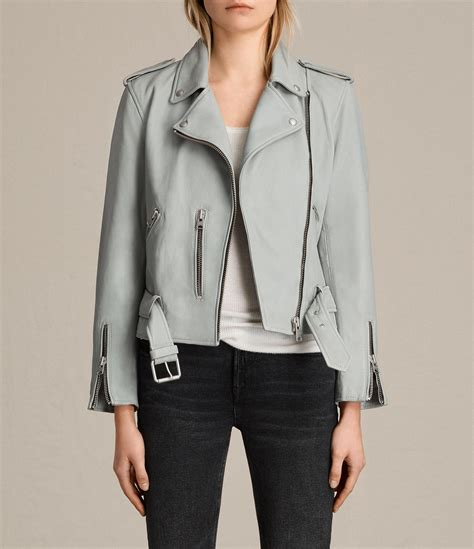 Allsaints Balfern Biker Jacket lyst allsaints balfern leather biker jacket in blue