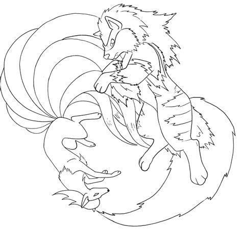 pokemon coloring pages ninetales ninetales and arcanine line by therainedrop on deviantart