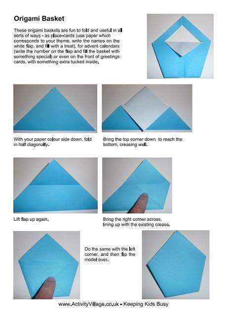 Easy Origami Basket - origami basket and photos