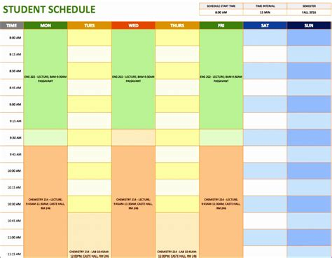 12 Study Schedule Template Excel Exceltemplates Exceltemplates Excel Student Schedule Template Help