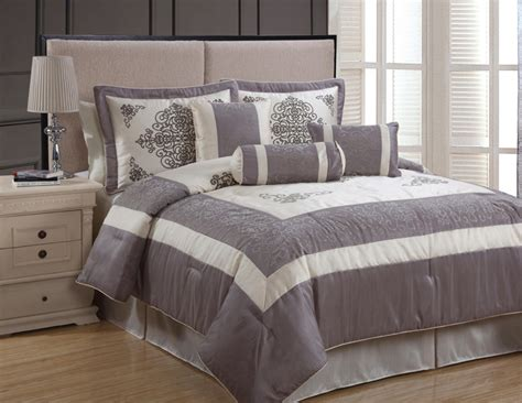 gray and tan bedding 7pcs queen isabella beige and grey comforter set
