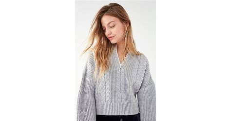 knitting pattern half zip sweater lyst urban outfitters uo cable knit half zip sweater in gray