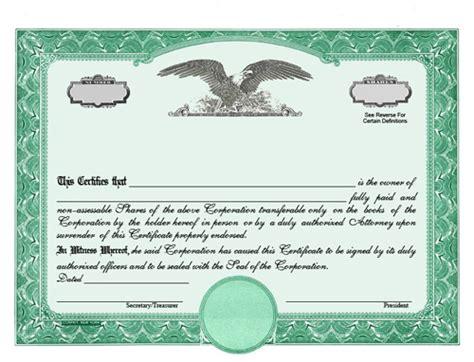Custom Stock Certificates Stock Option Certificate Template