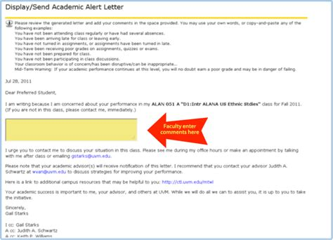 Dispute Letter Early Warning Services Academic Alert System Center For Academic Success The Of Vermont