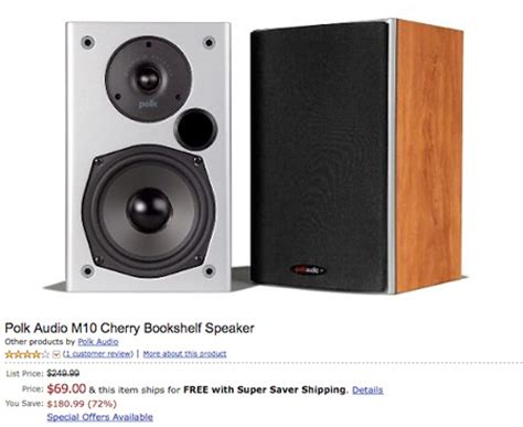 deal of the day 249 99 polk audio m10 cherry bookshelf