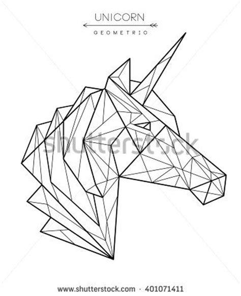 stock vector geometric unicorn head tattoo t shirt design