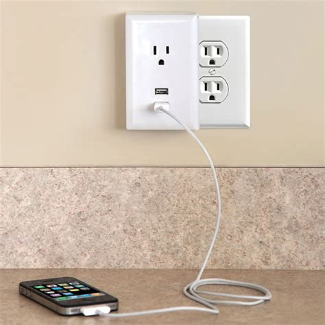 cool wall receptacle plug in usb wall outlets the green head