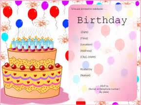 birthday invitation templates free printable word templates