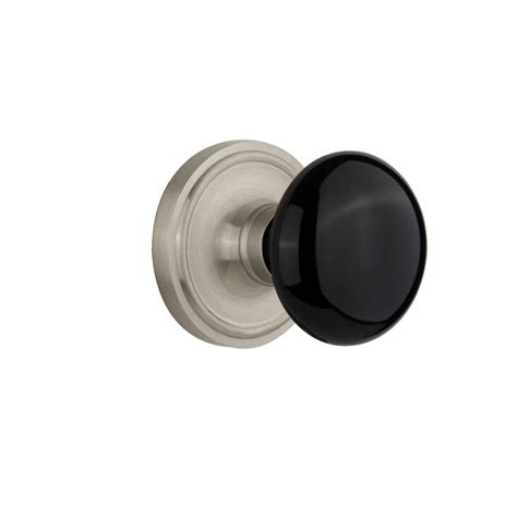 Satin Nickel Interior Door Knobs Nostalgic Warehouse Classic Plate Interior Mortise Black Porcelain Door Knob In Satin Nickel