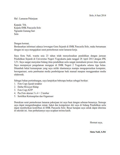 Contoh Po Kerja Di Kopkar by Contoh Application Letter Dan Cv Fontoh