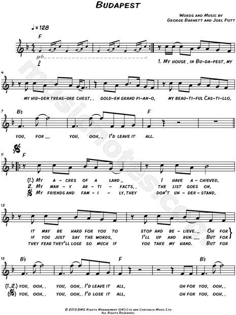 budapest guitar tab by george ezra guitar tab 160827 george ezra quot budapest quot sheet music leadsheet in f major