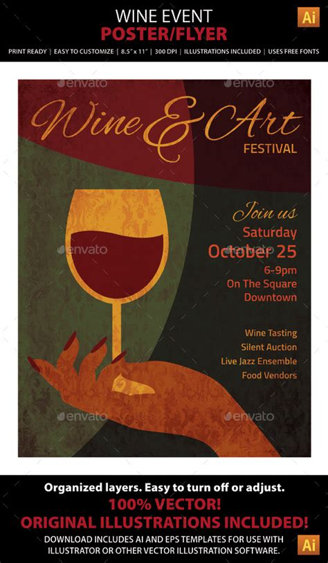 wine art event poster or flyer wine art