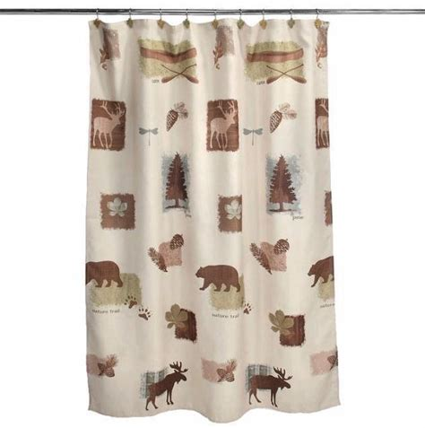 moose and bear shower curtain moose cabin bear deer bathroom collection shower curtain
